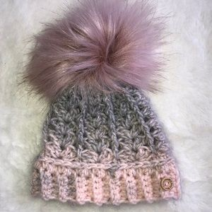 Handmade crochet Pom Pom 0-3 month hat